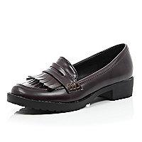 Girls brown chesnut loafer shoe