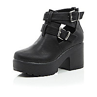 Girls black double buckle clumpy boot
