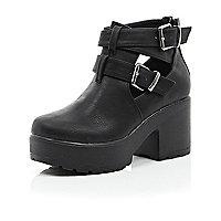 Girls black double buckle clumpy shoe