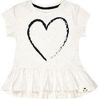 Mini girls white heart peplum t-shirt