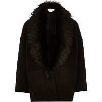 Girls black quilted faux fur swagger jacket