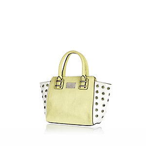 Girls green stud winged tote bag