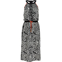 Girls black and white print maxi dress