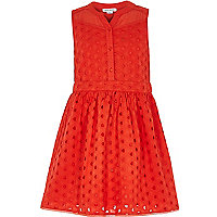 Girls red broderie sleeveless dress