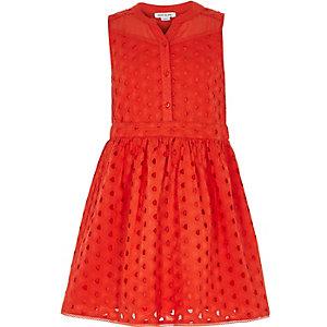 Girls red broderie sleeveless dress