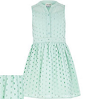 Girls light green broderie sleeveless dress