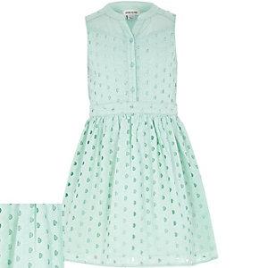 Girls light green broderie sleeveless dress