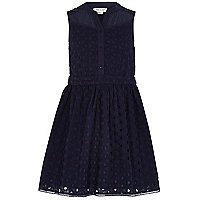 Girls navy broderie sleeveless dress
