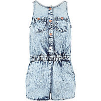 Girls blue acid wash denim playsuit