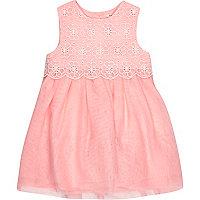 Mini girls pink lace prom dress
