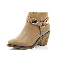 Girls beige harness heel boot