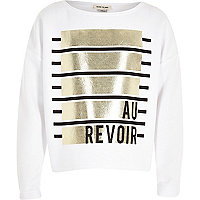 Girls white Au Revoir print sweatshirt