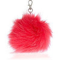 Girls pink faux fur pom pom keyring