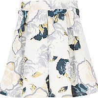 Girls cream floral print pleated full skirt