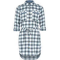 Girls blue button down check shirt dress