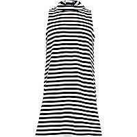 Girls black stripe high neck shift dress