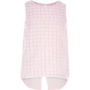Girls pink heart vest top