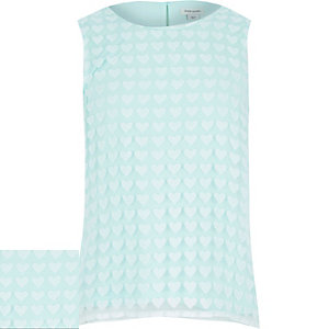 Girls green heart vest top