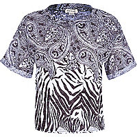 Girls black zebra bandana print top