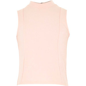 Girls pink floral jacquard turtle neck