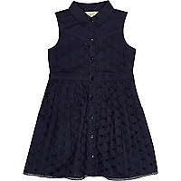 Mini girls navy broderie sleeveless dress