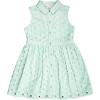 Mini girls green broderie sleeveless dress