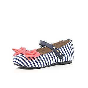 Mini girls navy stripe coral bow shoes