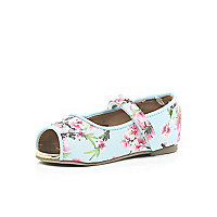 Mini girls blue blossom ballerina shoe