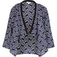Girls blue geo print kimono jacket