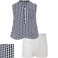 Girls blue gingham shirt and short outfit