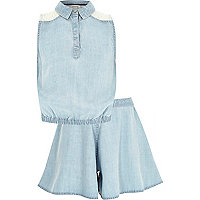 Girls blue denim top and skirt outfit
