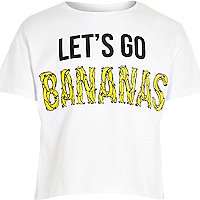 Girl white lets go bananas crop t-shirt