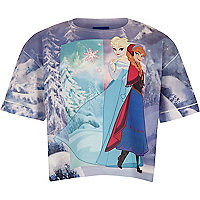 Girls blue Frozen princess print t-shirt
