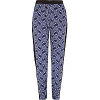 Girls blue geometric print joggers