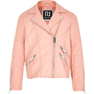 Girls peach leather-look biker jacket
