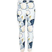 Girls blue floral print trousers