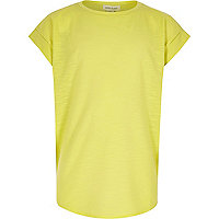 Girls lime chiffon back short sleeve top