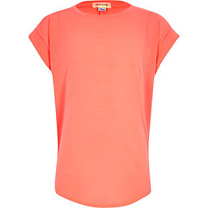 Girls coral chiffon back short sleeve top