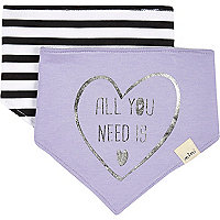 Mini girls light purple and stripe bib set