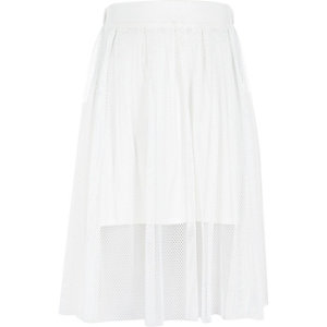 Girls white midi netted overlay skirt