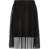 Girls black midi netted overlay skirt