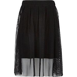 Girls black midi netted overlay skirt
