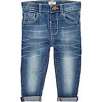 Mini girls mid wash turn hem jeans
