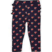 Mini girls navy ruffle bum heart leggings