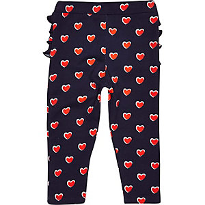 Mini girls navy ruffle back heart leggings
