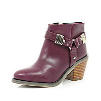 Girls red harness heel boot