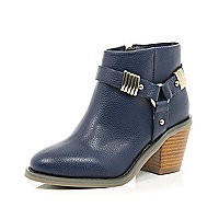 Girls navy harness heel boot