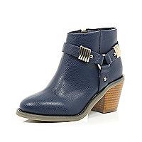 Girls navy harness heel boot