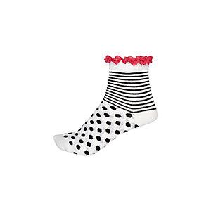 Girls white spot and stripe fill socks