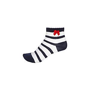 Girls navy stripe bow socks